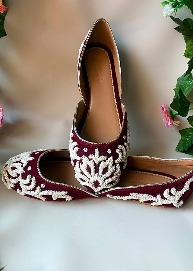 Maroon Ballet Flats In Velvet With Cream Double Beaded Work In Ethnic Motif Online By Sole House