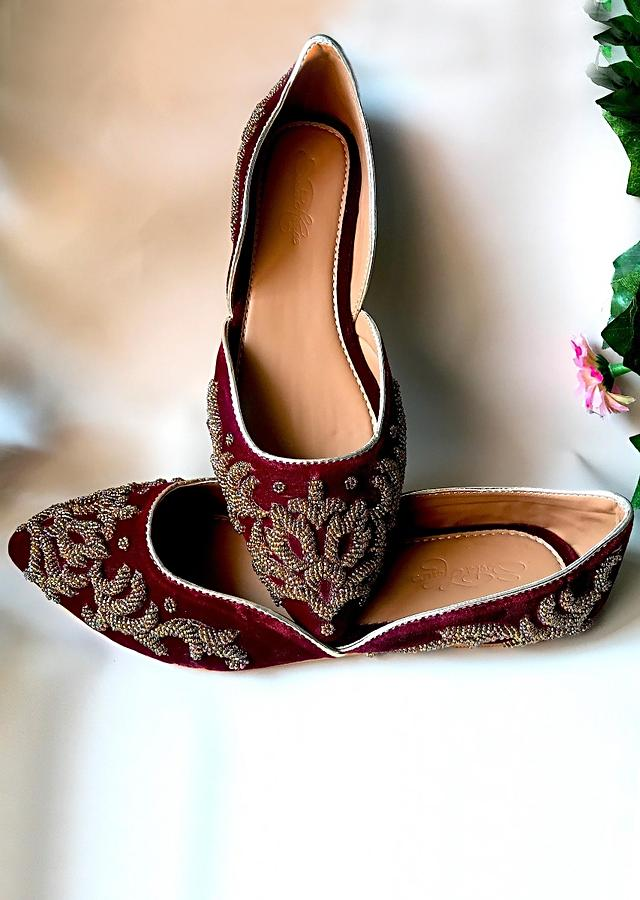 Maroon Ballet Flats In Velvet With Dull Gold Double Beaded Work In Ethnic Motif Online By Sole House