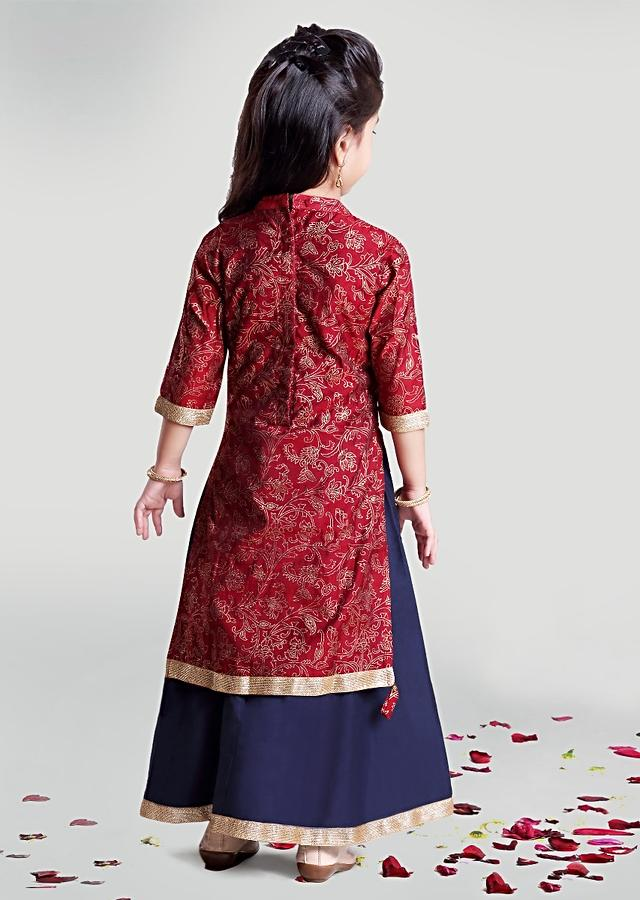 Maroon Chanderi Kurta With Floral Jaal Print And Navy Blue Bottoms By Mini Chic