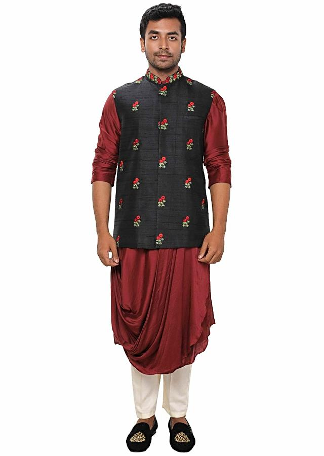 Maroon Kurta Set With Cowl Drape Paired With A Black Floral Hand Embroidered Jacket Online - Kalki Fashion