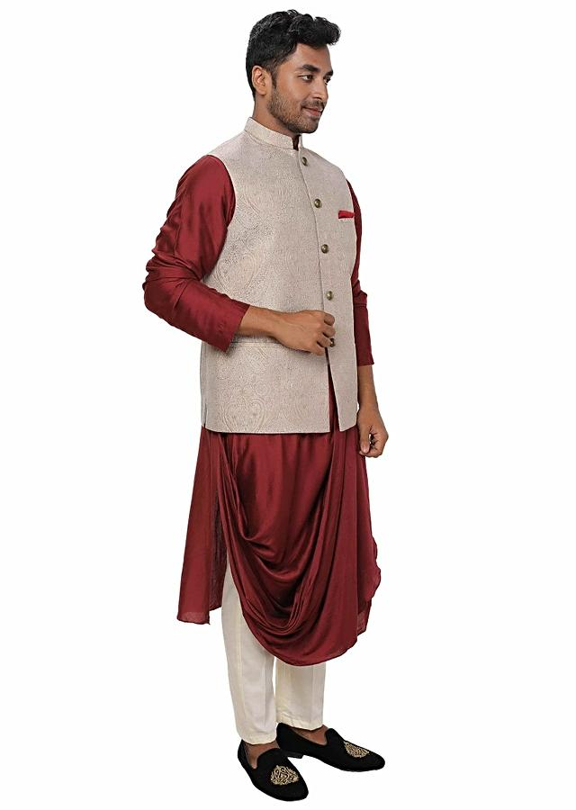 Maroon Kurta Set With Cowl Drape Paired With An Off White & Gold Self Embroidered Nehru Jacket Online - Kalki Fashion