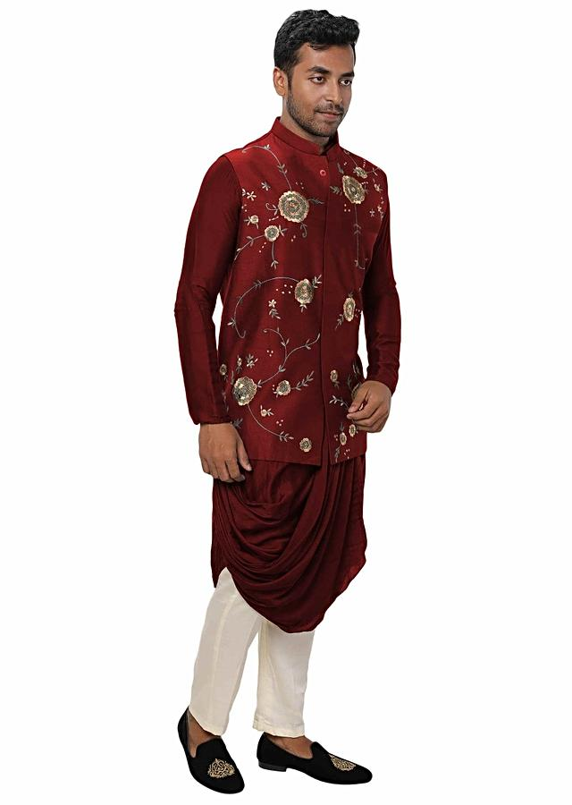 Maroon Kurta With Cowl Drape With A Royal Gold, Threadwork Embroidered Nehru Jacket Online - Kalki Fashion
