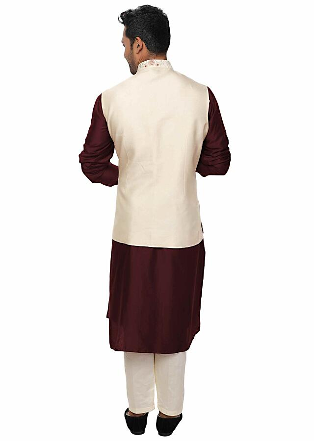 Maroon Cowl Kurta Set With An Off White All-Over Embroidered Nehru Jacket Online - Kalki Fashion