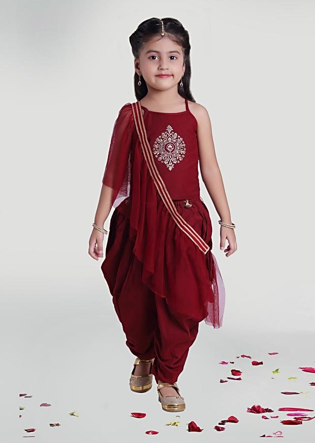 Maroon Cowl Pants In Silk With Top And Ruffle Dupatta For Girls  By Mini Chic