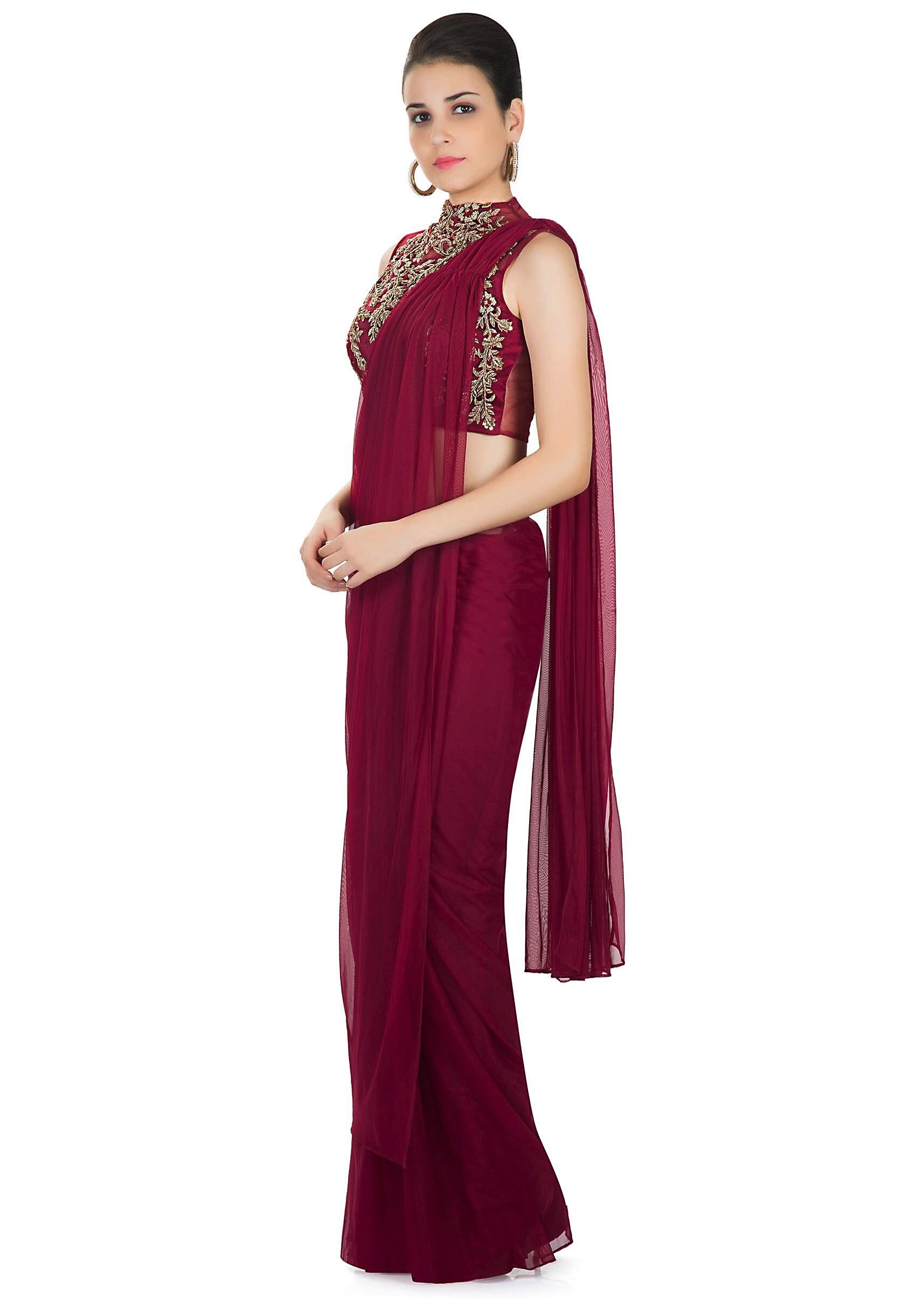 741497fa11bfb6 Maroon Georgette Net Saree with Embellished Net Blouse Only on Kalki