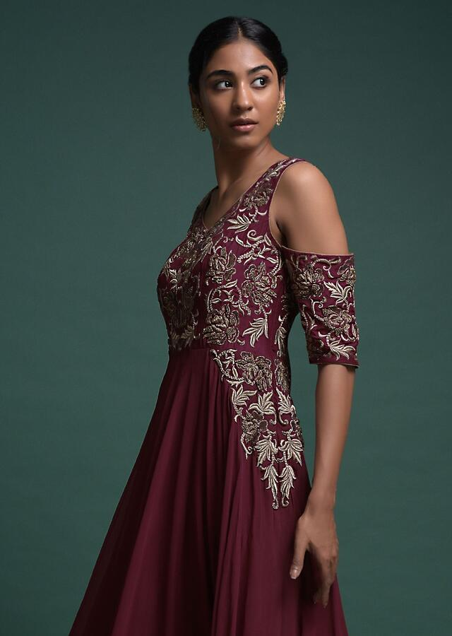 Maroon Indowestern A Line Gown With Cold Shoulder Sleeves And Floral Embroidery Online - Kalki Fashion