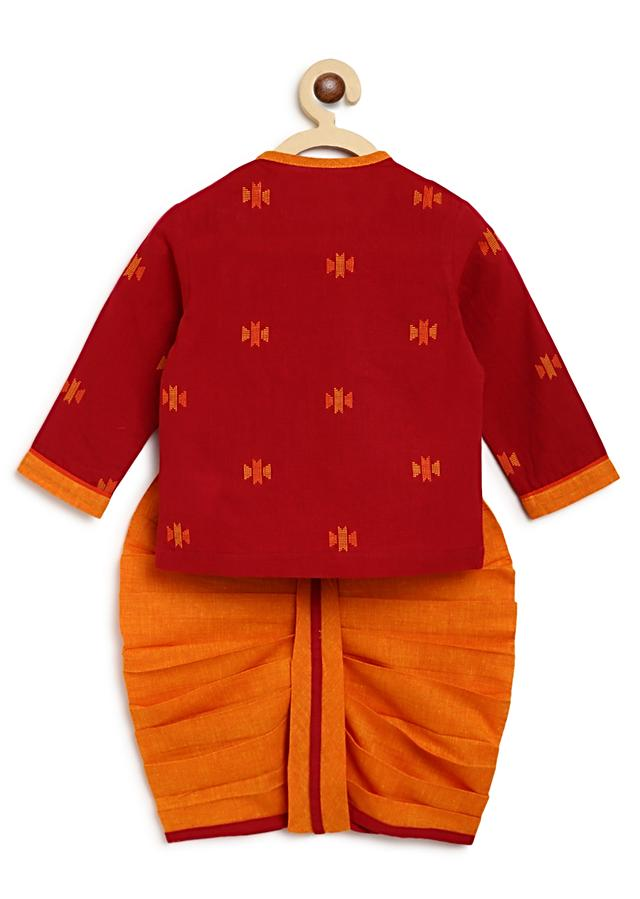 Maroon Kurta And Contrasting Dhoti Set In Cotton With Printed Buttis By Tiber Taber