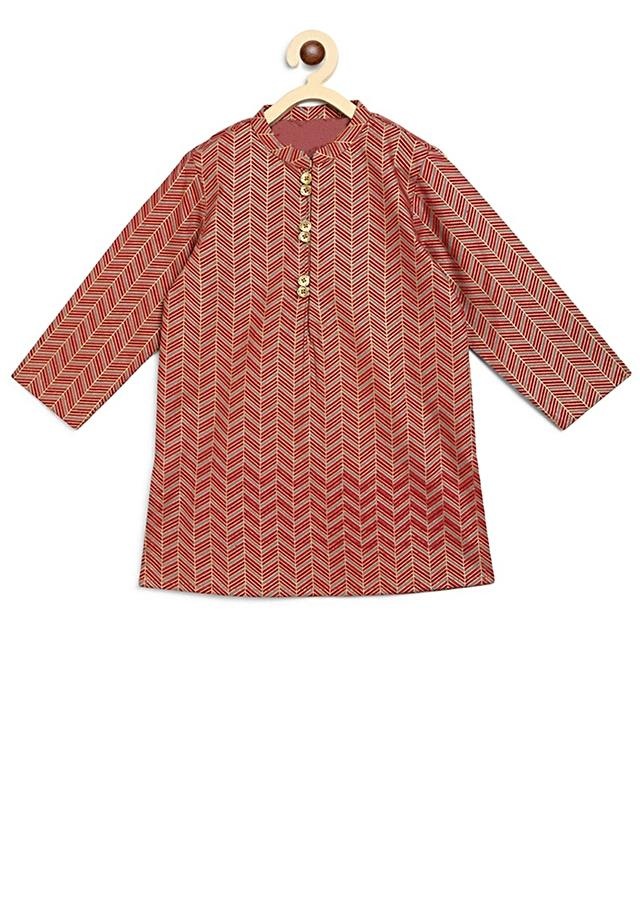 Maroon Kurta Set With Printed Geometric Motifs Inspired From The Block Prints Of JaipurBy Tiber Taber