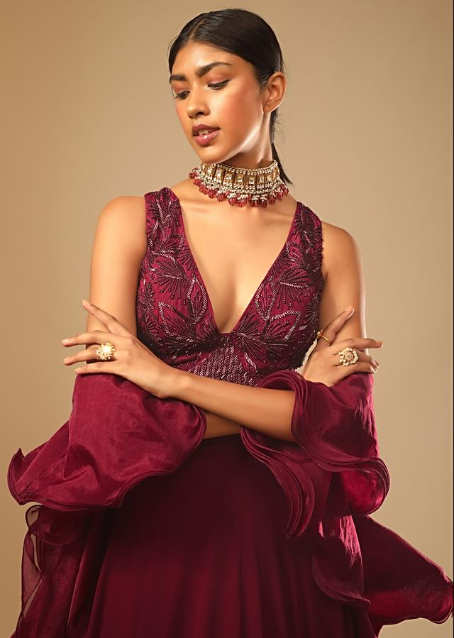 Maroon Lehenga And Crop Top With Hand Embroidered Leaf Motifs And A Ruffle Dupatta Online - Kalki Fashion