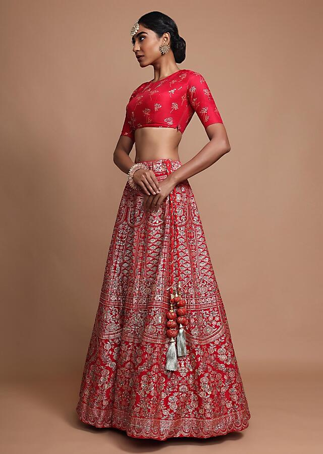 Maroon Lehenga Choli In Silk With Foil Printed Moroccan And Floral Design Online - Kalki Fashion
