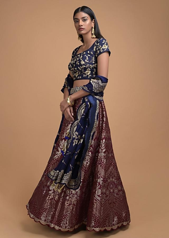 Maroon Lehenga In Brocade Silk With Weaved Floral And Chevron Pattern All Over Online - Kalki Fashion