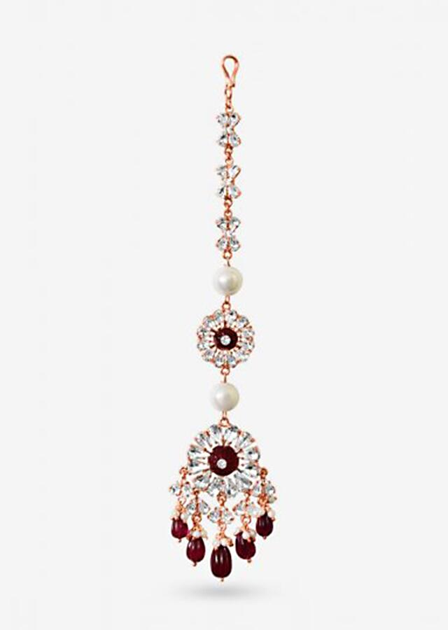 Maroon Maang Tika Designed With Glinting Swarovski Stones And Semi-Precious Carved Beads By Prerto
