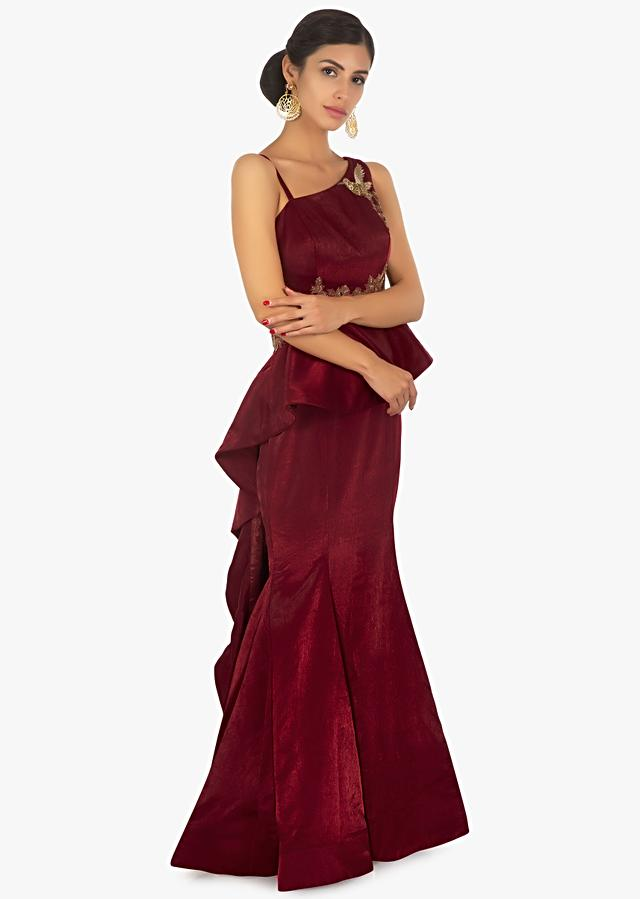 Maroon Gown With One Side Strap In Peplum Style Embellished In Bird And Floral Motif Online - Kalki Fashion
