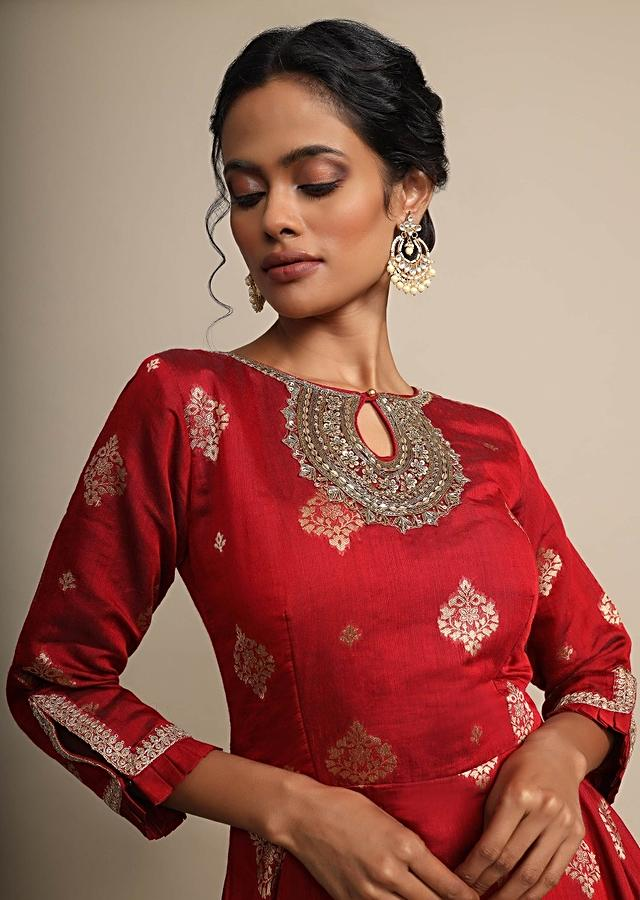Maroon Palazzo Suit With Weaved Geometric Buttis And Zardozi Accents On The Neckline Online - Kalki Fashion