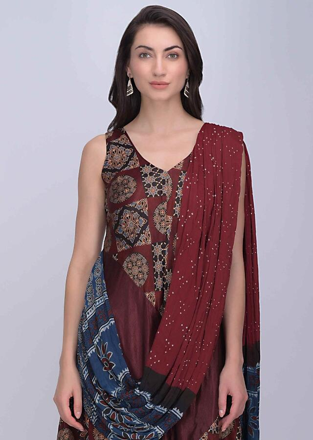 Maroon Jumpsuit In Printed Dupion Fabric With Fancy Chiffon Drape Online - Kalki Fashion