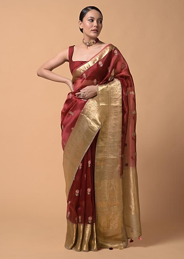 Maroon Saree In Organza With Brocade Border And Resham Embroidered Floral Buttis Online - Kalki Fashion
