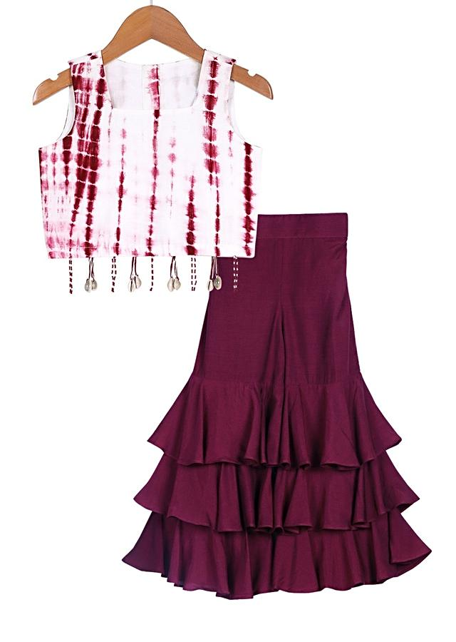 Maroon Sharara Pants With Layered Frill And Tie-Dye Crop Top Online - Free Sparrow