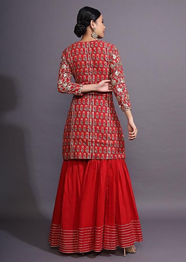 Maroon Sharara Suit With Floral Print And Gotta Patti Work All Over Online - Kalki Fashion