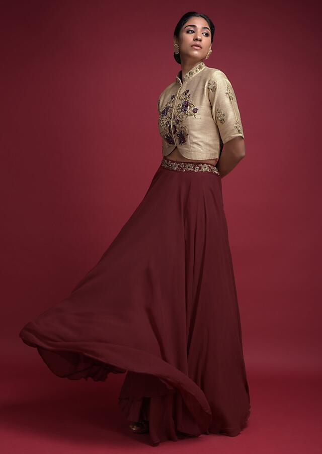 Maroon Skirt And Beige Crop Top With Embroidered Floral Pattern Online - Kalki Fashion