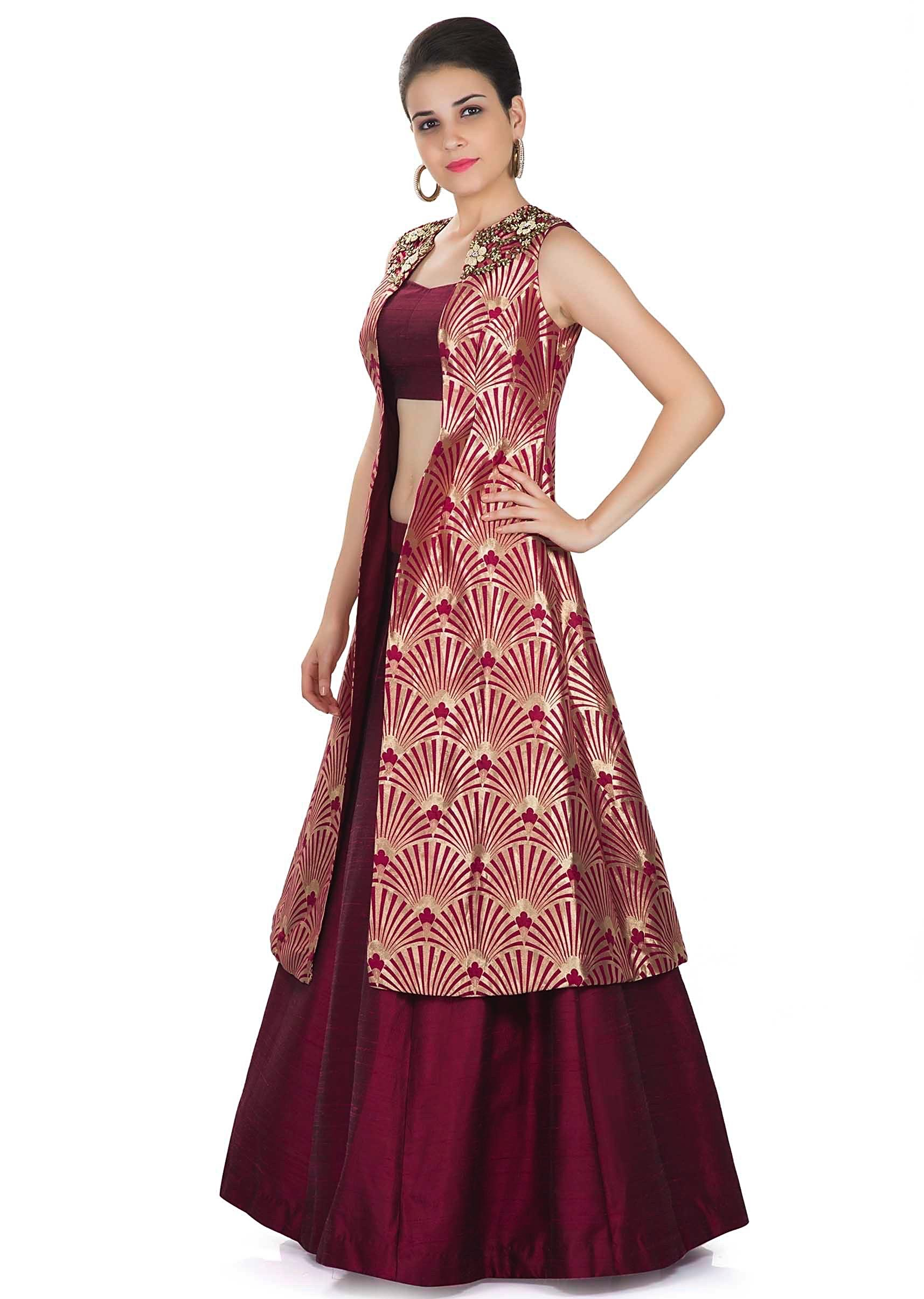 6e2c2f1194 Maroon Skirt and Blouse Styled with Banarasi Brocade Jacket Featuring Moti  Embroidered Butti only on Kalki