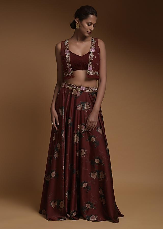 Maroon Skirt And Crop Top With Floral Print And Short Net Jacket With Floral Embroidery Online - Kalki Fashion