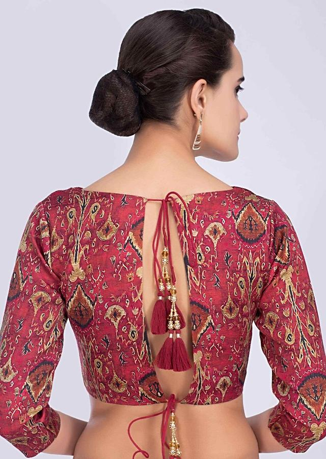 Maroon Blouse In Soft Silk With Abstract Digital Print Online - Kalki Fashion