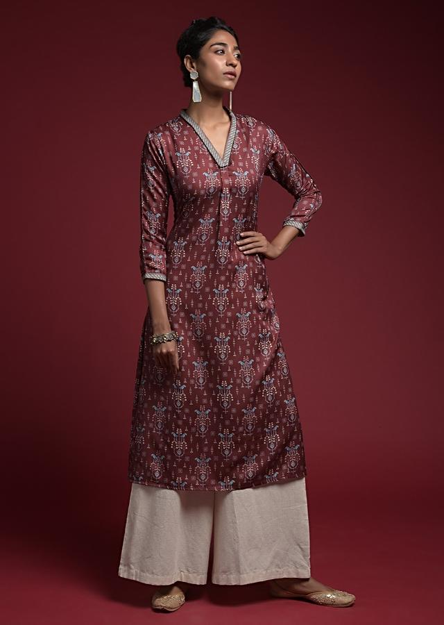Maroon Straight Cut Kurti In Crepe With V Neckline And Printed Bird And Floral Motifs Online - Kalki Fashion