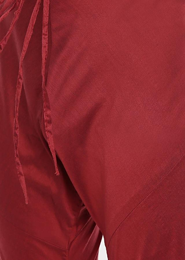 Maroon, Red And Brown Colorblocked Kurta Set In Cotton Silk By Mayank Modi