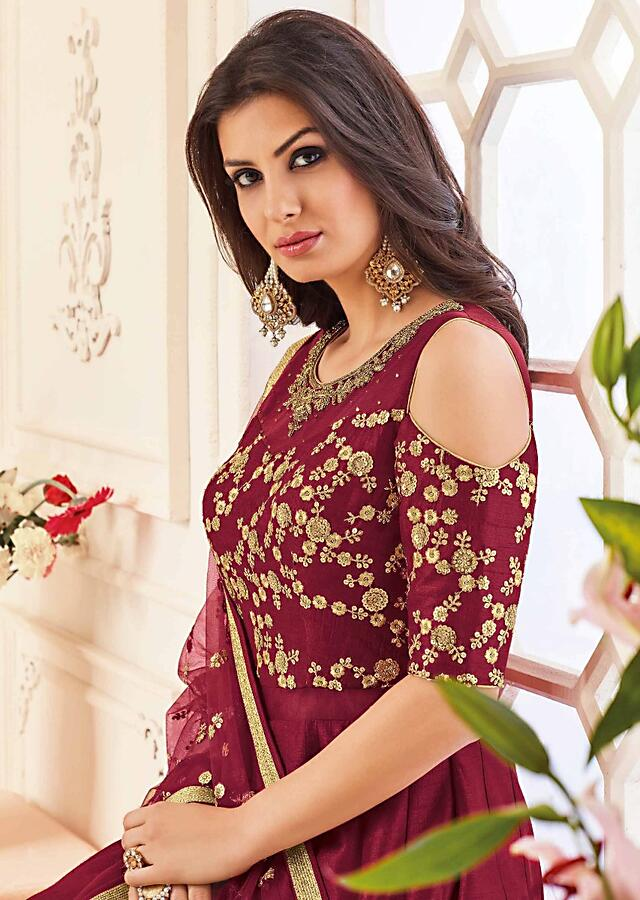 Maroon Anarkali Suit In Raw Silk With Cold Shoulder In Zari And Kundan Embroidered Online - Kalki Fashion