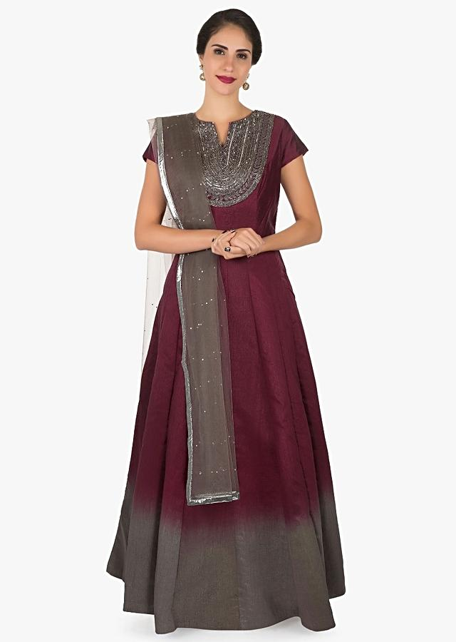 Maroon And Grey Shaded Anarkali Suit Crafted In Cut Dana And Sequin Embroidery Work Online - Kalki Fashion
