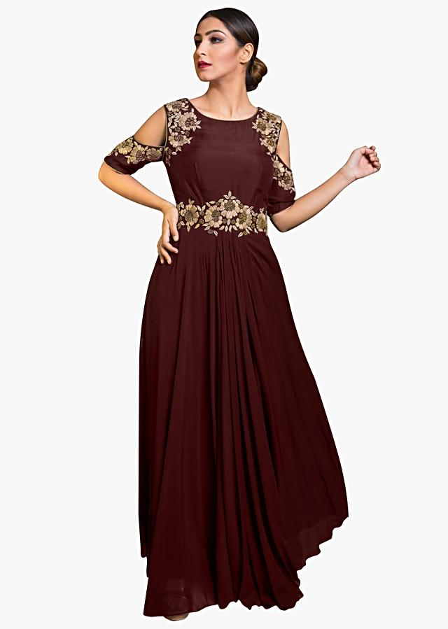 Maroon Cold Shoulder Indo Western Gown With Embroidered Armhole And Waist Line Online - Kalki Fashion