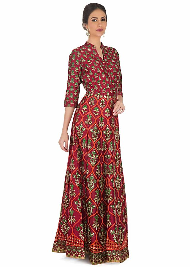 Maroon Cotton Silk Dress Featuring Floral Prints Embellished with Sequins and Gotta Patch only on Kalki