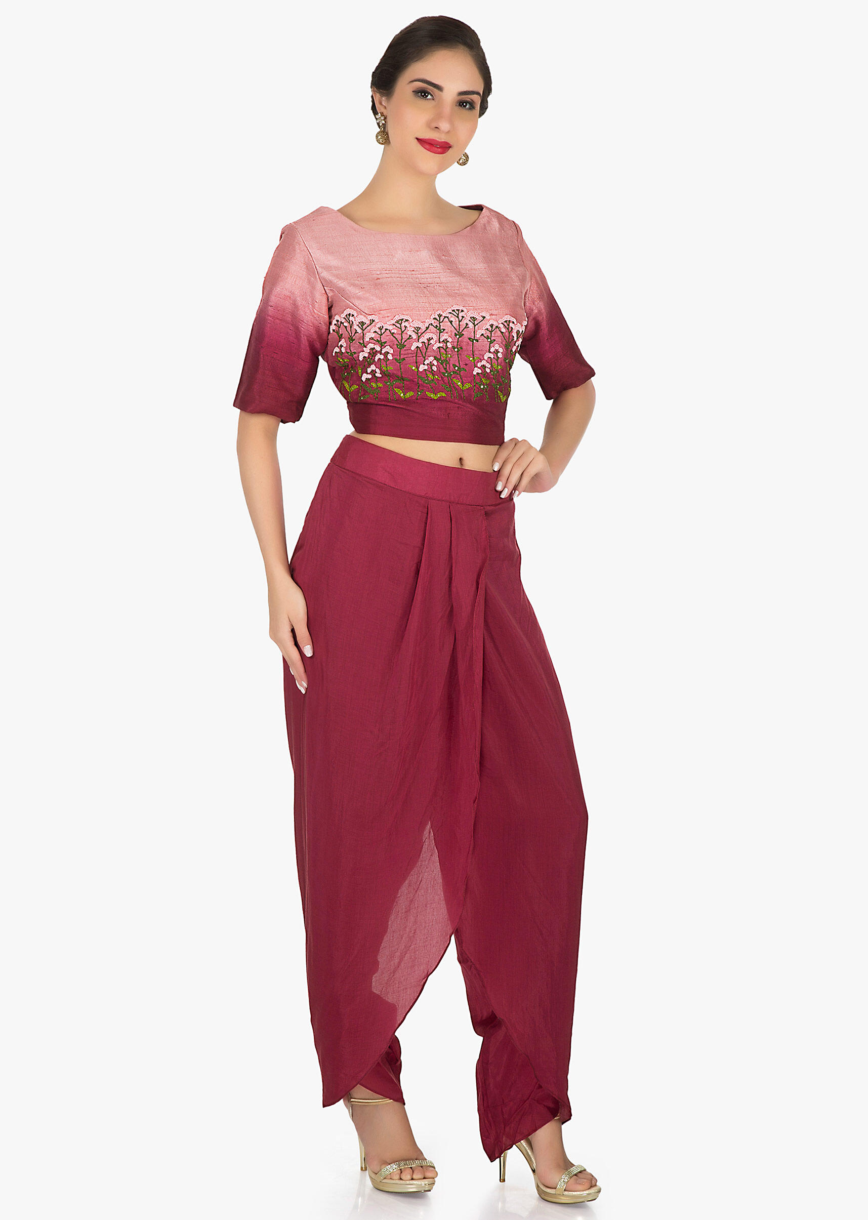 361e58100b7cf Maroon dhoti suit in raw silk is embellished with french knot in floral  motifs only on Kalki
