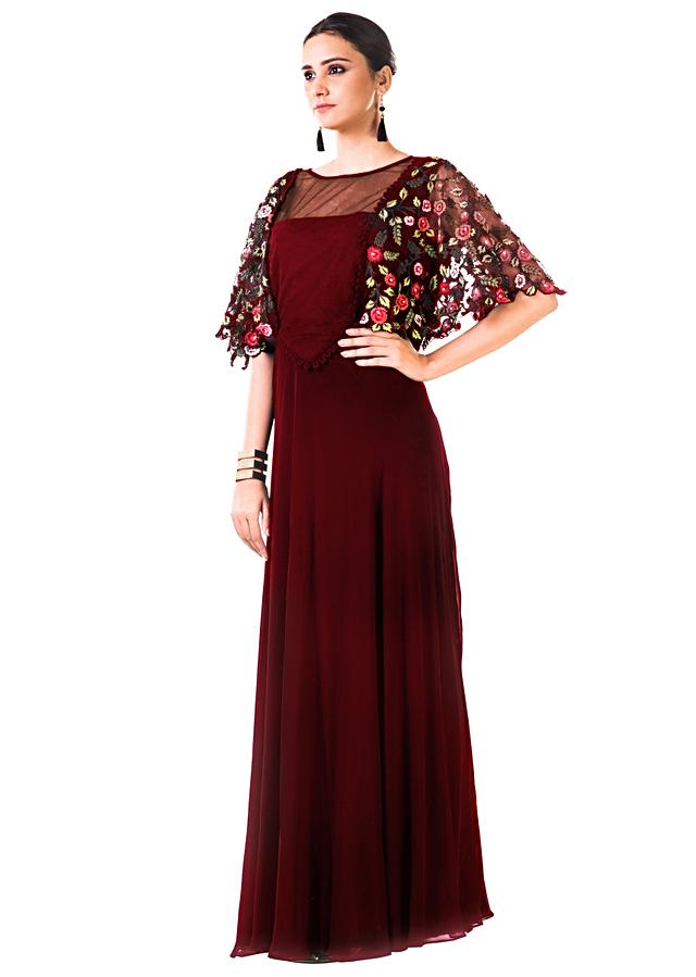 Maroon Gown With Hand Embroidered Cape Style Online - Kalki Fashion