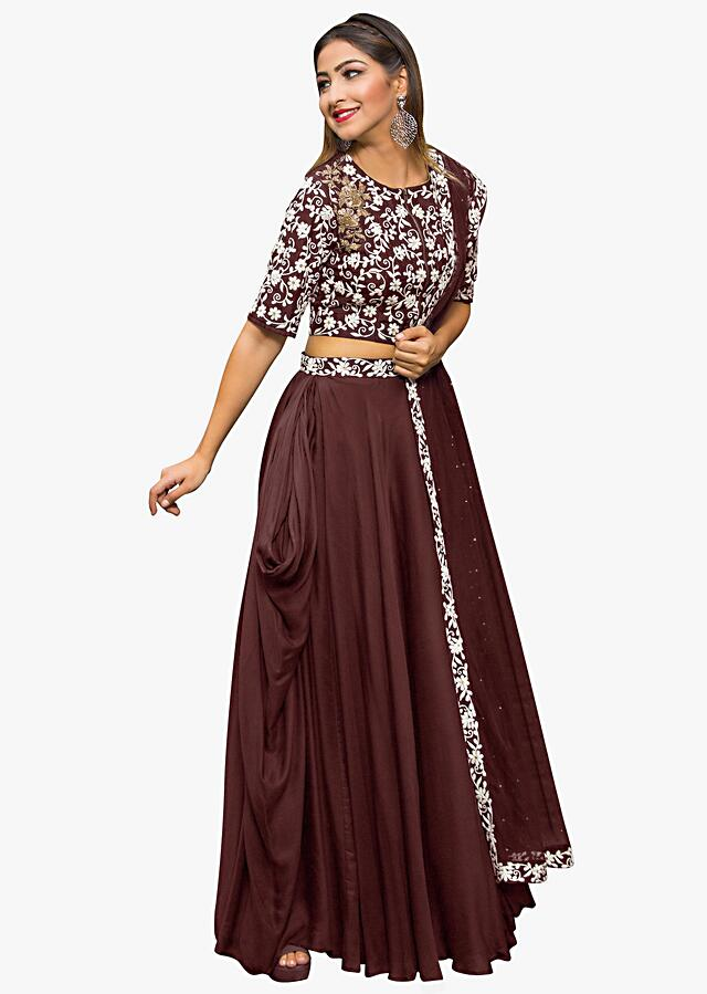 Maroon Lehenga In Georgette With Embossed Thread Embroidered Blouse Online - Kalki Fashion