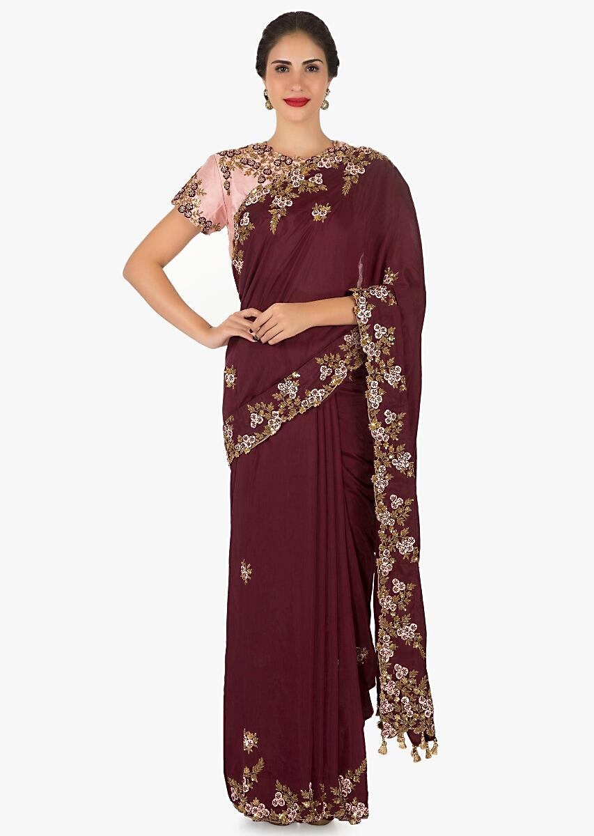 a52ab5ef0265b Maroon saree with ready blouse in pink embroidered with resham and sequin  work only on KalkiMore Detail
