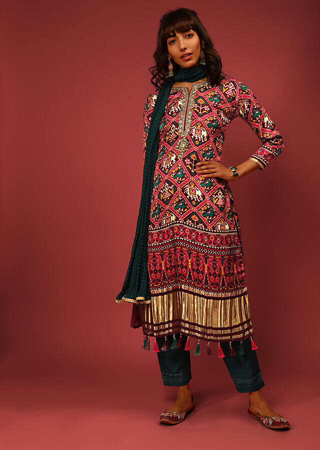 Maroon Straight Cut Suit In Satin Blend With Patola Print And Brocade Border Edged In Tassels Online - Kalki Fashion