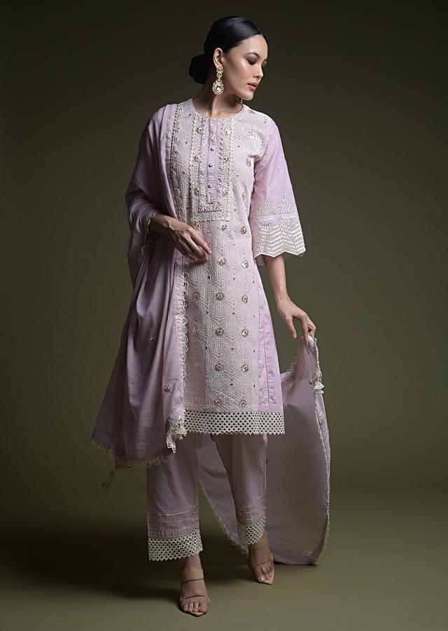Mauve A Line Suit In Cotton With Thread Cut Work Embroidered Moroccan Jaal And Mirror Abla Work Online - Kalki Fashion