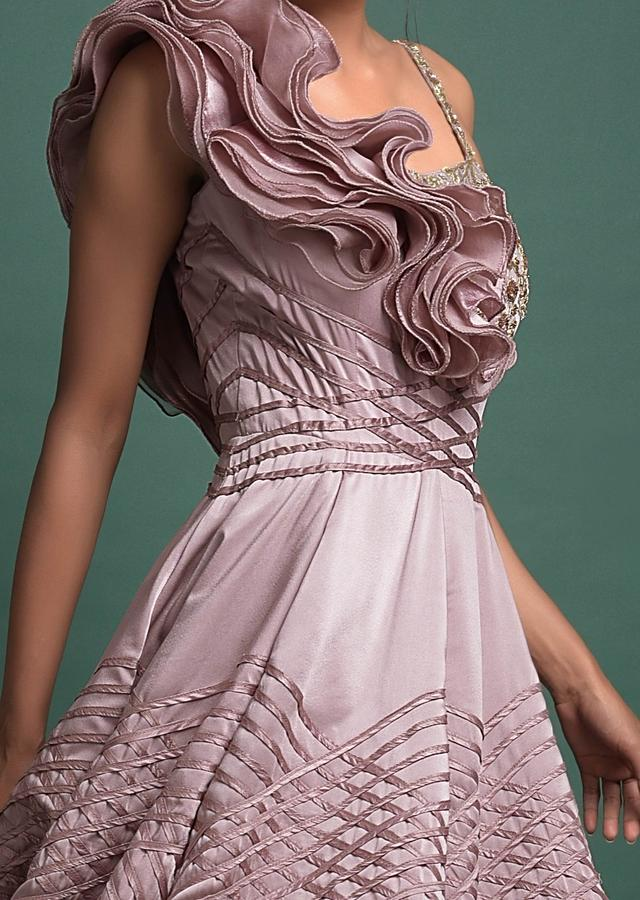 Mauve Ball Gown In Milano With Organza Ruffles On The Shoulder Online - Kalki Fashion
