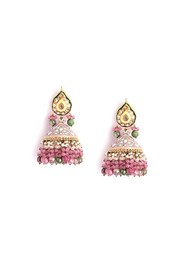 Mauve Beige And Green Jhumkas With Hand Painted Enamel Work Along With Kundan And Multi Colored Beads By Kohar