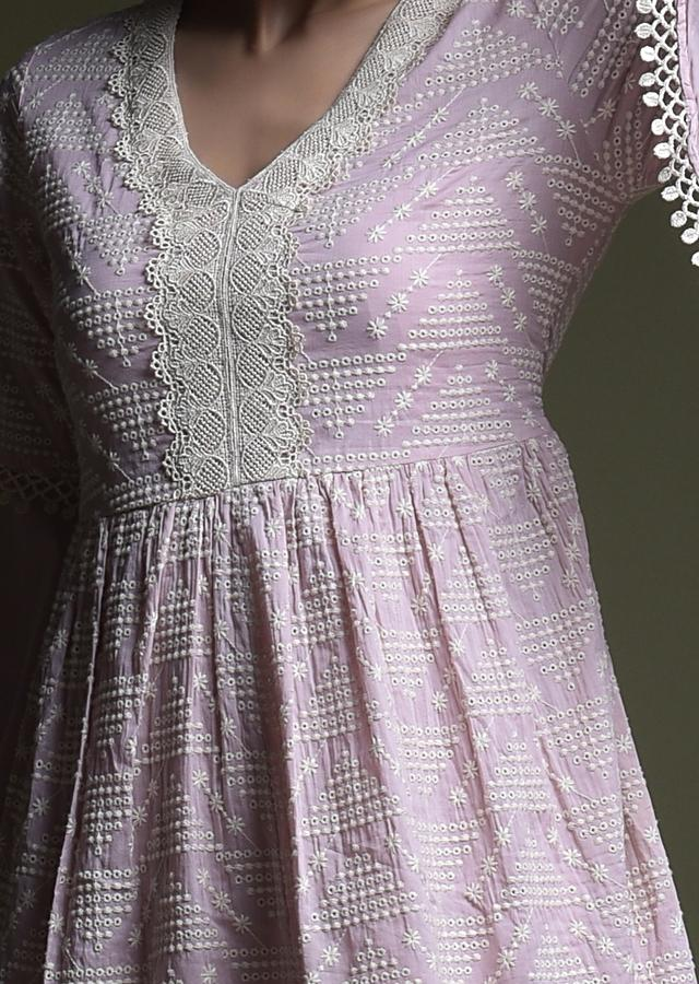 Mauve Dhoti Suit In Cotton With A Line Kurti Adorned In Thread Cut Work Embroidery Online - Kalki Fashion