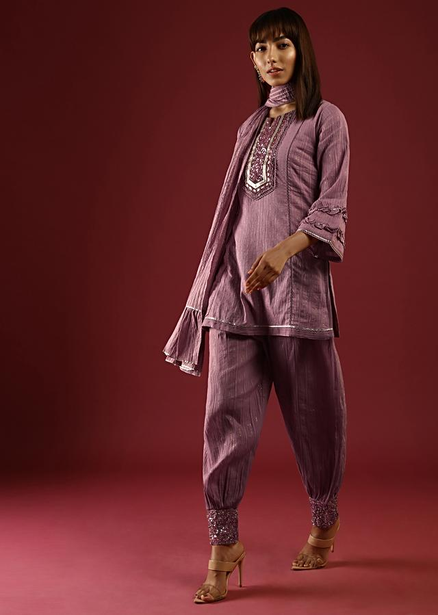 Mauve Dhoti Suit In Cotton With Gotta Patti Embroidered Yoke And Bell Sleeves Online - Kalki Fashion