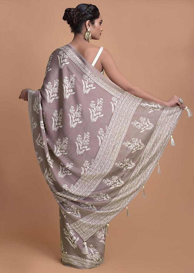 Mauve Half And Half Saree In Satin Silk Adorned With Geometric And Floral Print Online - Kalki Fashion
