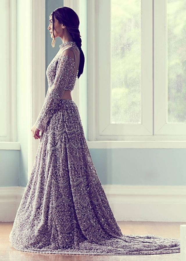 Mauve Lehenga Choli In Net With Cut Dana And Sequins Embroidered Floral Heritage Pattern Online - Kalki Fashion