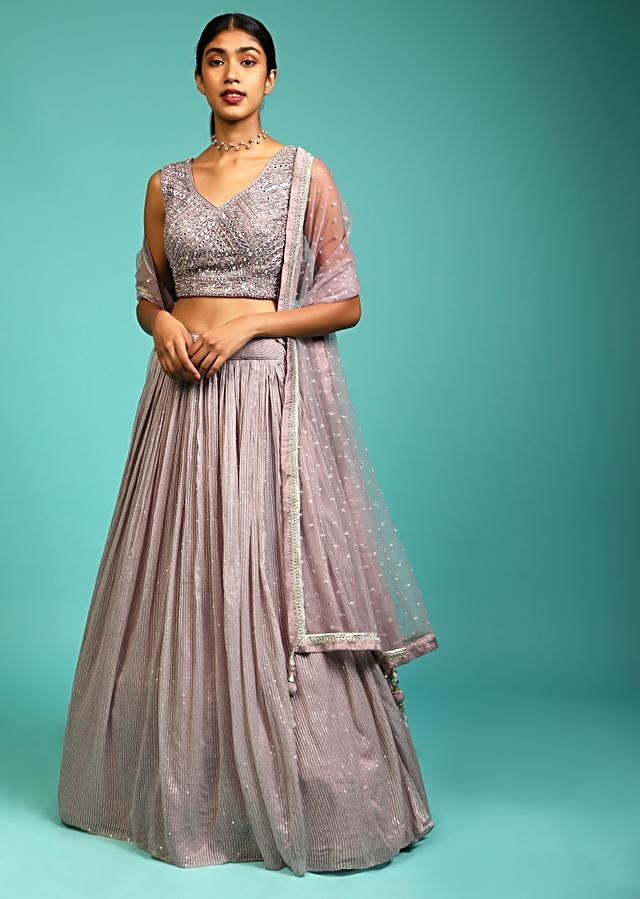 Mauve Lehenga With Sequin Embroidery And A Heavy Mirror Abla Embroidered Crop Top Online - Kalki Fashion