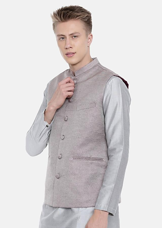 Mauve Nehru Jacket In Jacquard Silk With Wine Thread Embroidered Checks By Mayank Modi