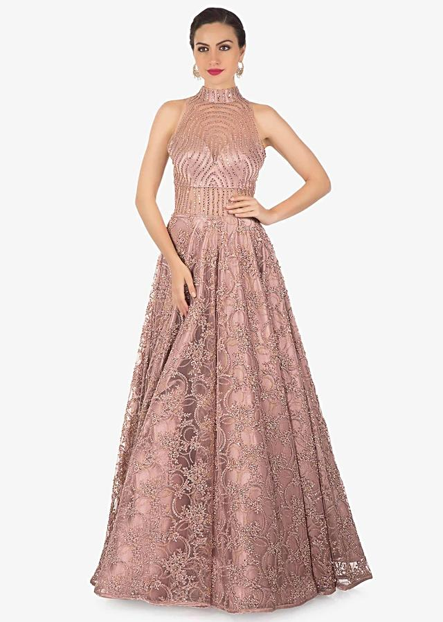 Mauve Gown In Net Adorned With Intricate Embroidery Online - Kalki Fashion