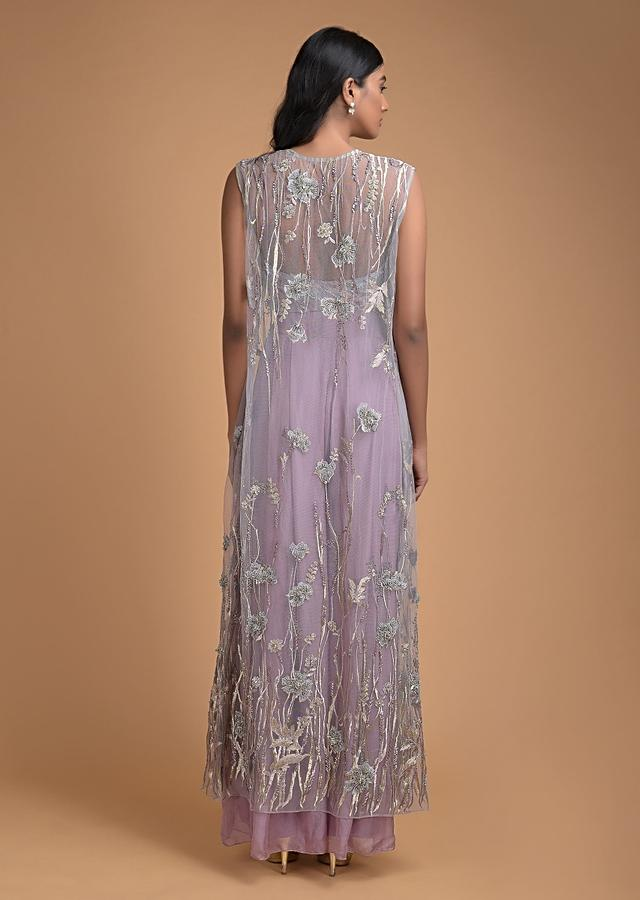 Mauve Palazzo Suit With Embellished Jacket And Crop Top In Floral Pattern Online - Kalki Fashion