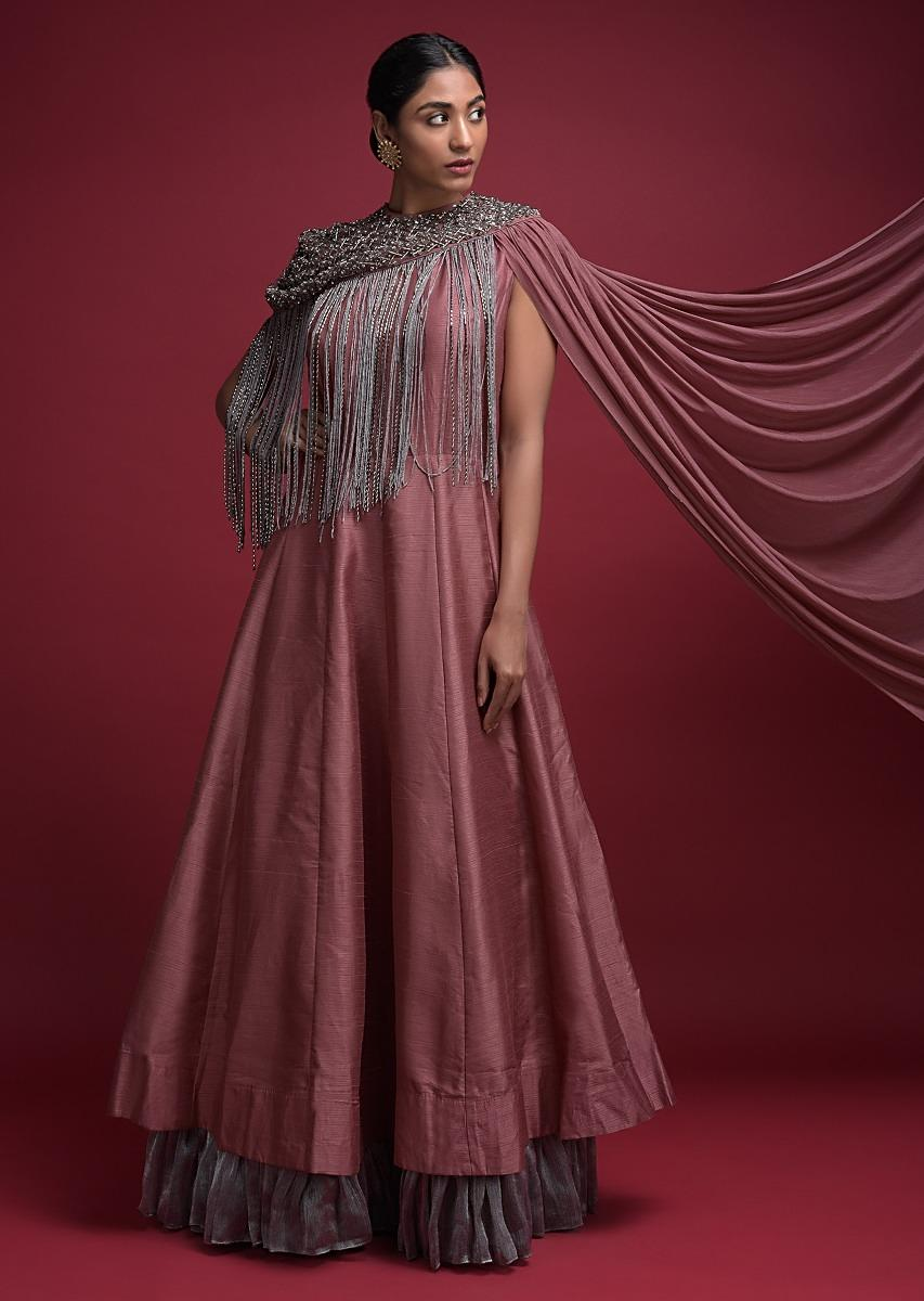 Mauve Pink Anarkali Suit In Cotton Silk With Silver Shimmer Frill And Fringe Cape Online - Kalki Fashion