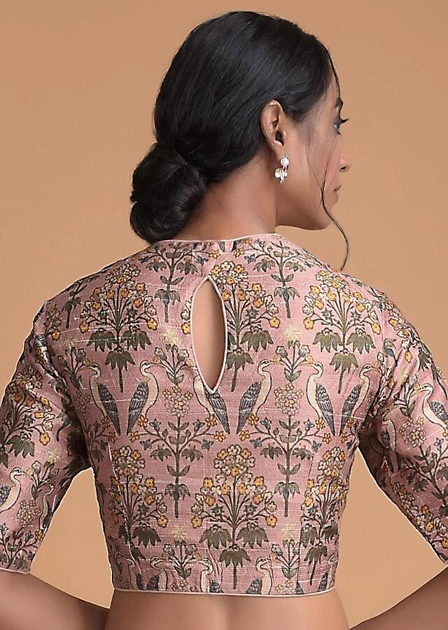 Mauve Pink Blouse In Raw Silk With Bird And Floral Print Online - Kalki Fashion